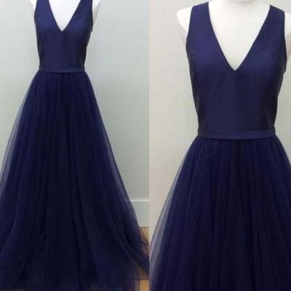 navy blue V-Neck prom dress,2017 Fl..