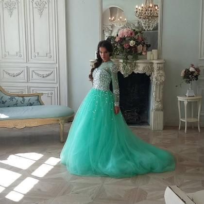 Mint Tulle Beaded Crystals Prom Dre..
