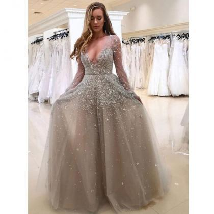Long Sleeve Prom Dresses, Tulle Pro..