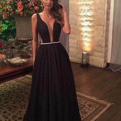 Black Satin Prom Dresses A-line Lo..