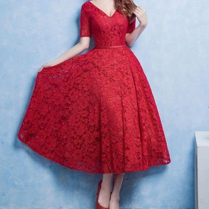 Charming Prom Dress,Red Lace Prom D..