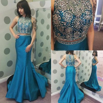 blue prom Dress,two pieces Prom Dr..