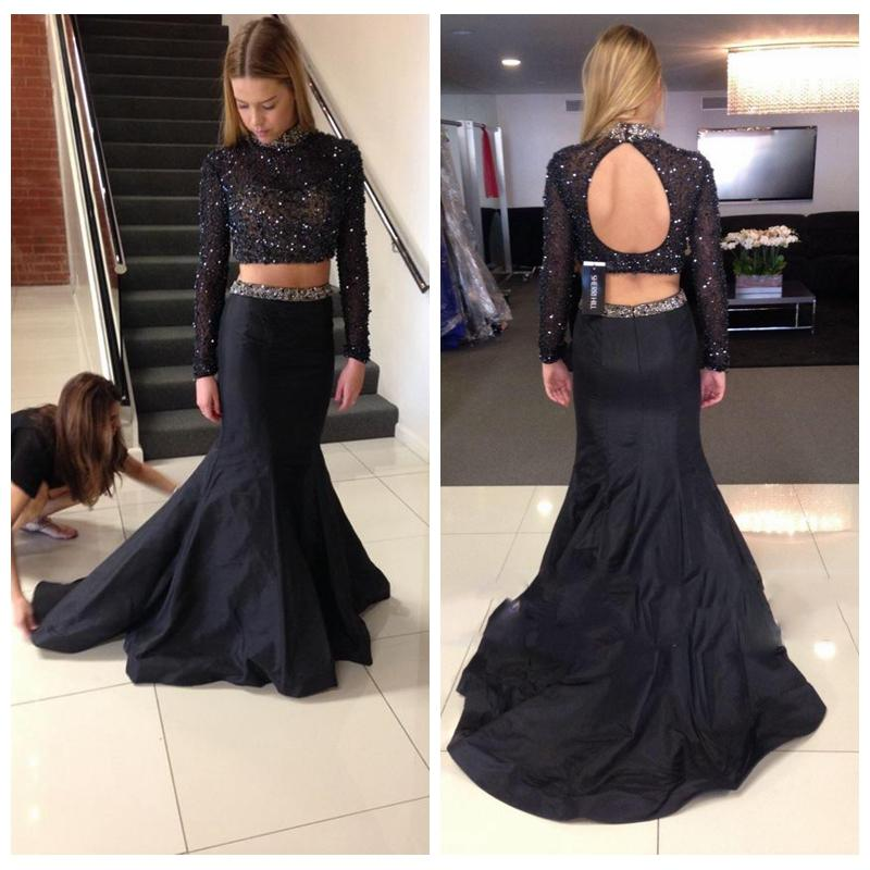 Two Pieces Long Sleeve Black Satin Mermaid Prom Dresses Party Formal Evening Dresses Mermaid Cocktail Homecoming Graduation Dresses