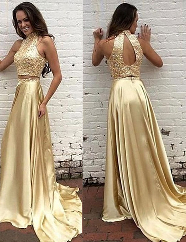 a3c5cc6b75e Two Piece High Neck Gold Prom Dress
