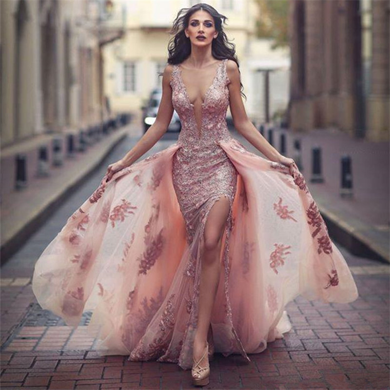 V-neck Amazing Formal Dress,Pink Formal Dresses,Over skirt Front Appliques Prom Dresses, Slit Tulle Lace Evening Dress