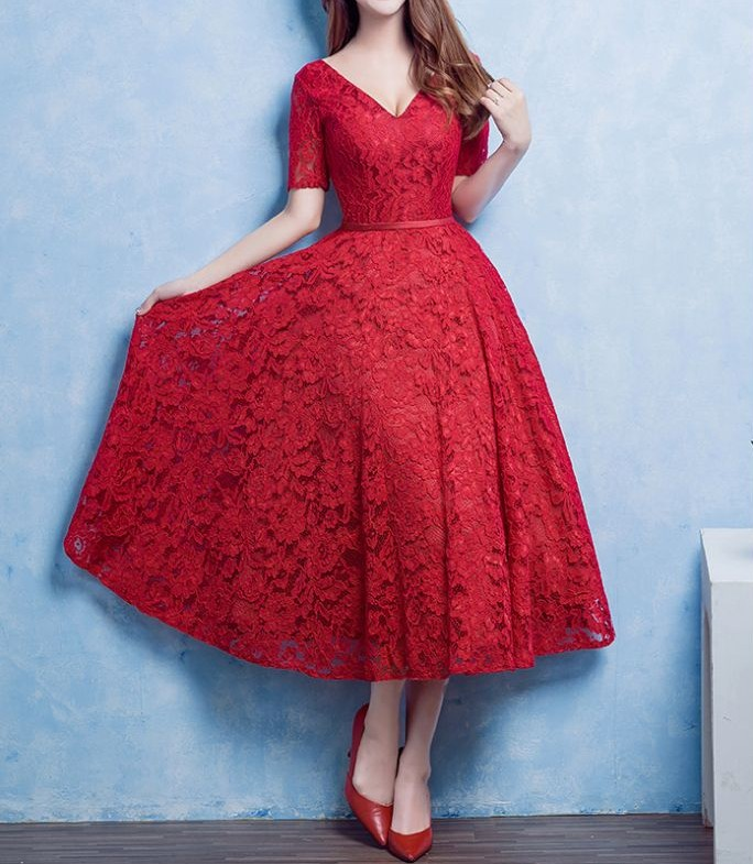 Charming Prom Dress,Red Lace Prom Dress,Lovely Prom Dress,Prom Party Dress,Short Prom Dress,Red Lace Formal Dress,Dress For Teens,Hot Sale Evening Dress,Women Dress,