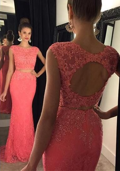Charming Appliques Lace Prom Dress2 Piece Prom Dress With Keyhole