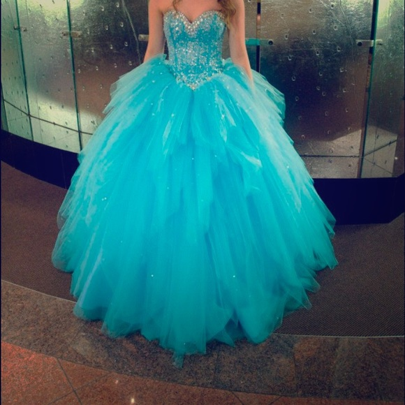 Turquoise Ball Gown Organza Prom Dresses Beading Crystals Evening ...