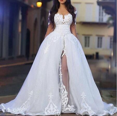 Wedding Dress Long Sleeve Bridal Dresses Sweetheart Neck Arabic Middle East With Sheer Detachable Train Robe De Boda Weding