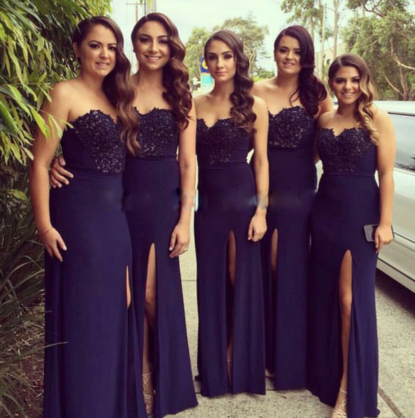 6c2dba8f0dc87 Navy Blue Chiffon Bridesmaid Dresses Sheath Long Wedding Party Gowns  Sweetheart High Slit Prom Dresses Formal Gowns