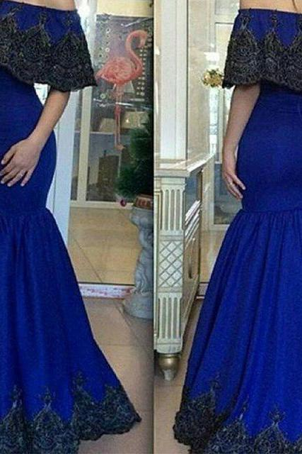 Evening Dress, Royal Blue Evening Dress,Prom Dress,Boat Neck Evening Dress, Cap Sleeve Evening Dress, Appliques Evening Dress, Long Evening Dress,Formal Evening Dress, Mermaid Evening Dress, Plus Size Evening Dress, Elegant Evening dress,Elegant Evening Dress,Party Dress ,Evening Dress 2017