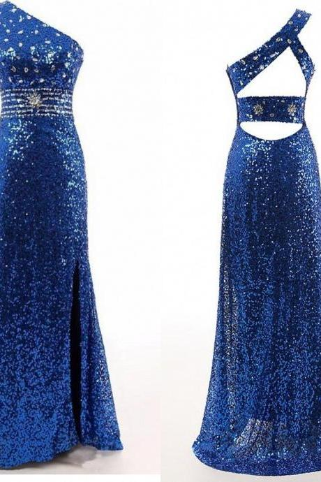 royal blue prom Dress,one shoulder Prom Dress,long prom dress,sparkle prom dress,prom dress