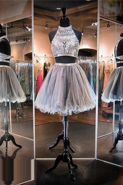Homecoming Dress,Luxury beads Silver Prom Dress,Short Homecoming Dresses,Junior Homecoming Dresses,Cheap PartyDress,2 Piece Prom Dress,Cheap Homecoming Dress, 8th Grade Prom Dress,Holiday Dress,Silver Evening Dress,