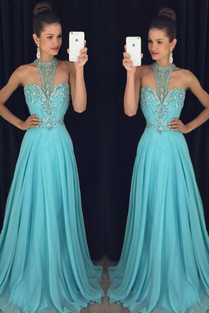 Blue Prom Dresses,Elegant Evening Dresses,Long Formal Gowns,Beaded Party Dresses,Chiffon Pageant Formal Dress,Sparkle Prom Dresses