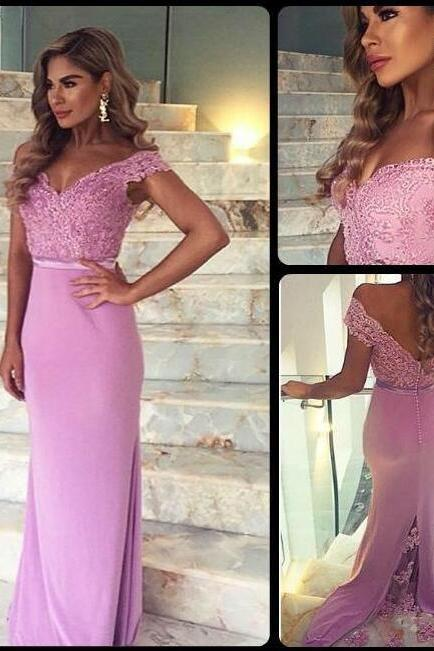 Long Prom Dress,Off shoulder Prom Dress,Lace Prom Dress, Prom Dress,pink Prom Dress