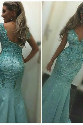 Sexy Prom Dress,Beading Prom Dress,Mermaid Prom Dress,Satin Prom Dress