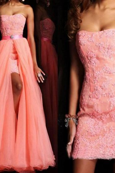 Lace prom dress, 2 piece prom dress, evening dress, charming prom dress, modest prom dress, affordable prom dress