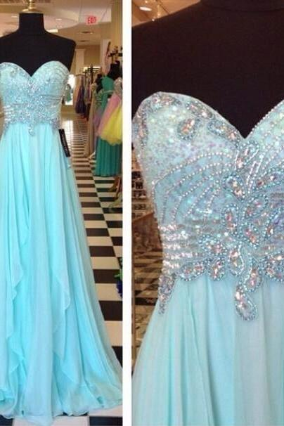 Beaded Embellished Sweetheart Floor Length A-Line Prom Dress