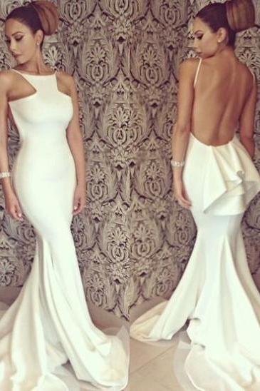 Long prom dress, white prom dress, backless prom dress, sexy prom dresses, mermaid prom dress, prom dress 2017, cheap prom dress, unique prom dress, evening prom gown,