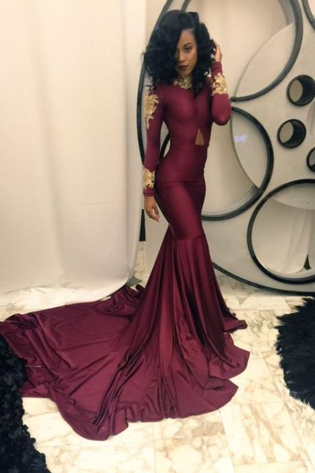 Prom Dresses,Prom Dress,Burgundy Long Floor Length Prom Dress Mermaid Lace Evening Gowns