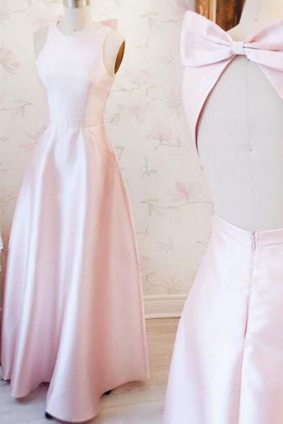 Boat Neck Light Pink Sleeveless Bridesmaid Dress,Long Backless Prom Dress with Bow,A Line Prom Party Dress