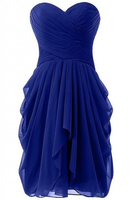 Charming Prom Dress,Chiffon Prom Dress,Royal Blue Prom Dress,Short Prom Dress