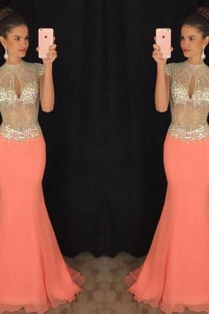 Long prom dress, gorgeous prom dress, beading prom dress, sparkly prom dress, cap sleeve prom dress, sexy prom dress, 2016 prom dress, impression prom dress, prom gown,