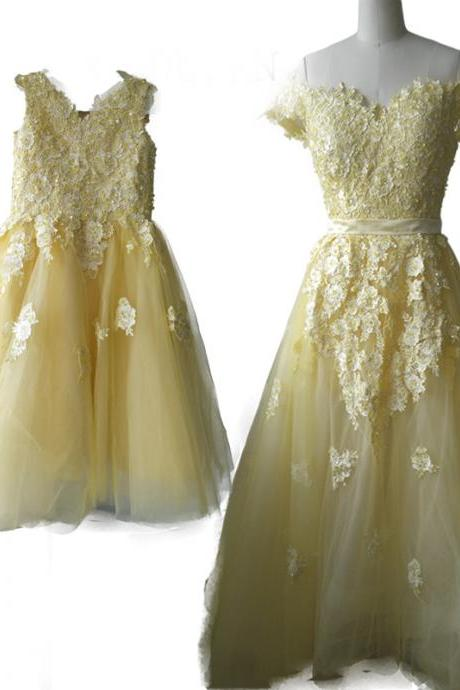 yellow two piece evening dress ,flower girl dress,appliques lace tulle dress ,mother daughter dress,formal dress