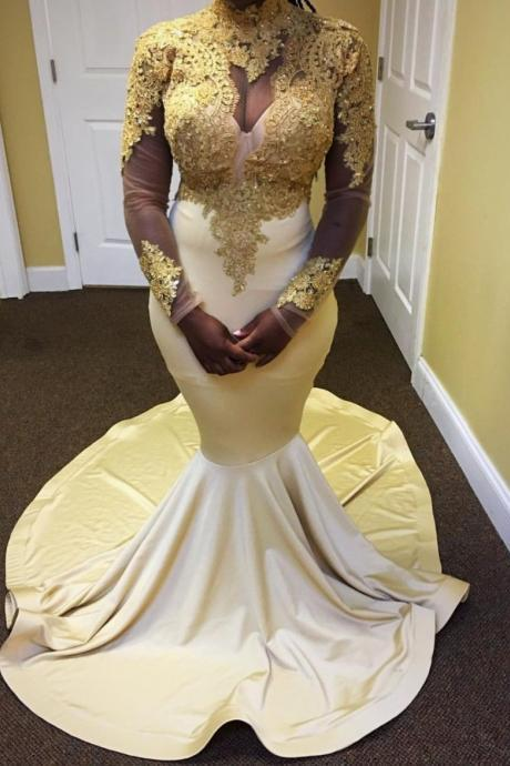 Long Sleeves Mermaid Prom Dress, with Gold Appliques Prom Dresses