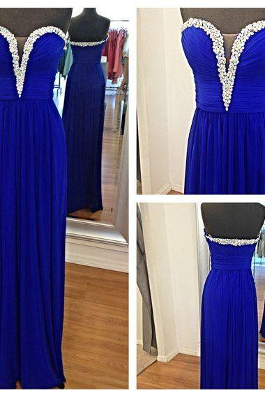 Sexy Pretty Handmade Royal Blue Simple Prom Dresses , Prom Gown, Formal Dresses, Evening Dresses, Formal Dresses,Wedding Guest Prom Gowns, Formal Occasion Dresses,Formal Dress
