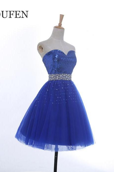 royal blue short prom dress ,2017 sweetheart a line homecoming dress sequin tulle knee length evening dress