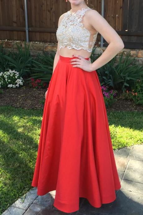 2 Piece Prom Gown,Two Piece Prom Dresses,Red Evening Gowns,2 Pieces Party Dresses,Chiffon Evening Gowns,Sparkle Formal Dress,Bling Formal Gowns For Teens,Pretty Prom Dresses,Discount Prom Dresses
