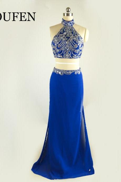 elegant royal blue evening dresses ,high neck prom dresses ,crustal beaded two piece prom dresses 2017 Evening Gown
