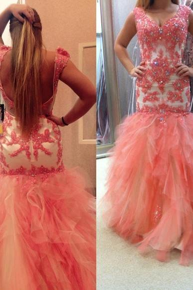 Prom Dresses Sexy Luxury Sparkle Pink Cheap V-neck mermaid prom dress ,formal evening dress ,backless prom dress