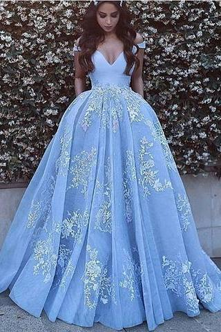 Cheap prom dresses 2017,off shoulder A-line blue tulle charming 2017 long prom dress,