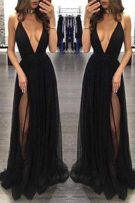 Custom Made Black V Neck Prom Dresses, Black V Neck Formal Dresses,elegant formal dress