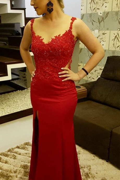 Red Sweetheart Sheath Slit Prom Dress,Sheer Back Evening Gown With Lace Appliques Prom Dresses ,2017 slim pagenat gown