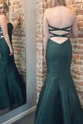 2017 Mermaid Prom Gowns,Sweetheart Cross Back Dark Green Satin Gowns,Mermaid Evening Gowns,Prom Dresses