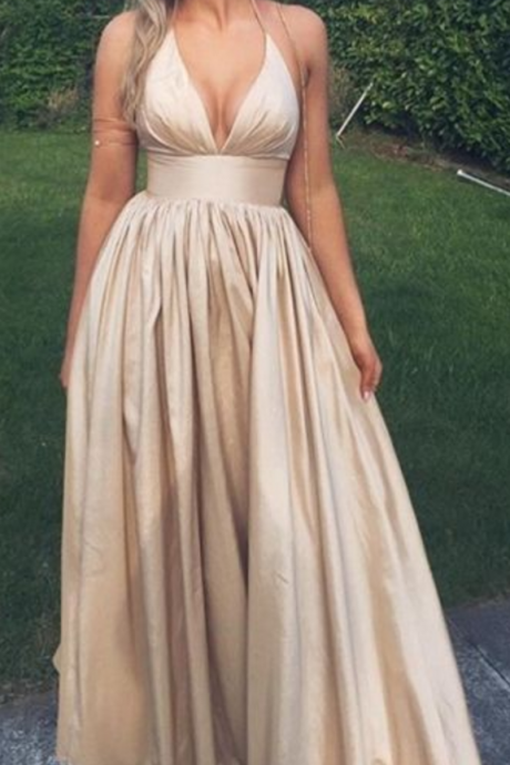 Satin Prom Dresses, Deep V Prom Dresses,Sexy Long Prom Dresses ,Champagne Color Evening Dresses, Party Dress