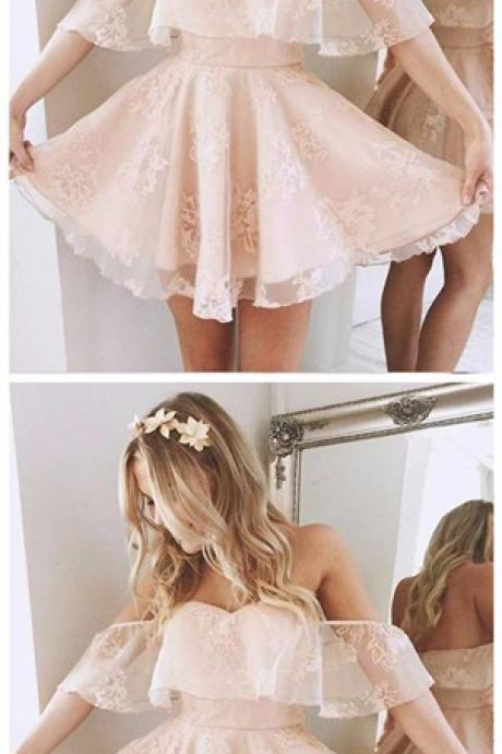 Custom Made Off Shoulder Lace Homecoming dresses, Lovely Junior Party Dresses, A Line Short Homecoming Dress
