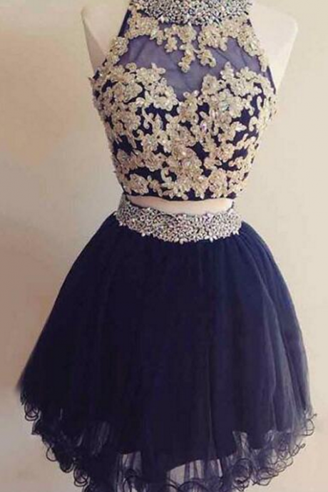 2 Pieces Homecoming Dresses, Navy Blue Homecoming Dresses, Short Prom Dresses,Appliques Lace Party Dresses