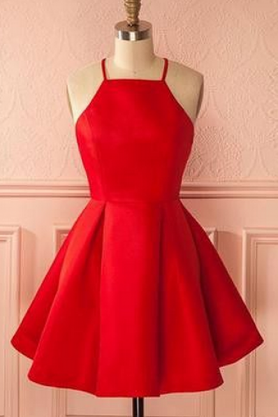 short red homecoming dress party dress, short red dancing dress party dress,backless cocktail dress 2017