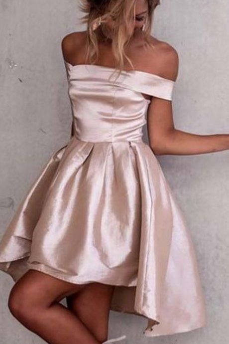 short homecoming dress prom dress, off the shoulder party dress, champagne short homecoming dress