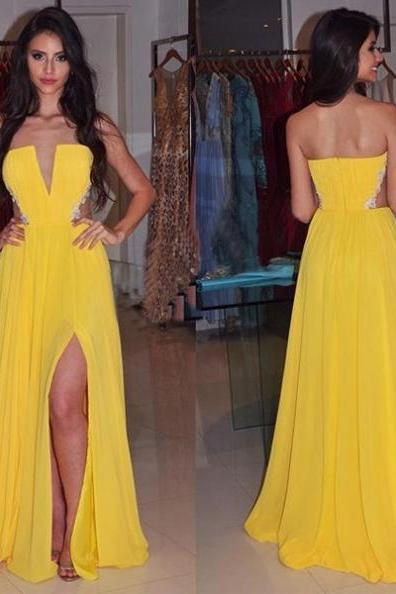 Prom Dress with Slit,Yellow Chiffon Prom Dress,Strapless Long Party Dress,Cheap Prom Dress,Long Evening Dress,Formal Gowns A-line
