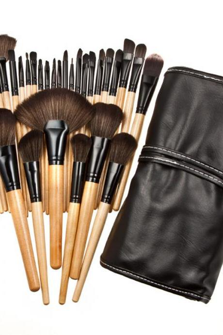 32 makeup brush set, professional makeup brush appliances, wood color