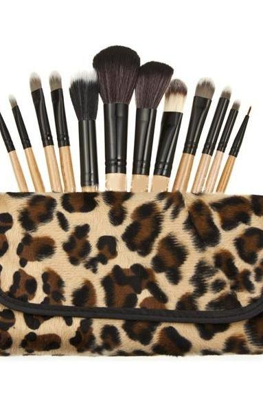 Hotline 12 cashmere Leopard makeup makeup brush portable makeup brush suit