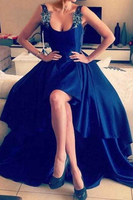 2017 NewHigh Quality Satin Long Prom Dresses,Backless Women Formal Dresses With Appliques,Royal Blue Formal Women Gowns 2017