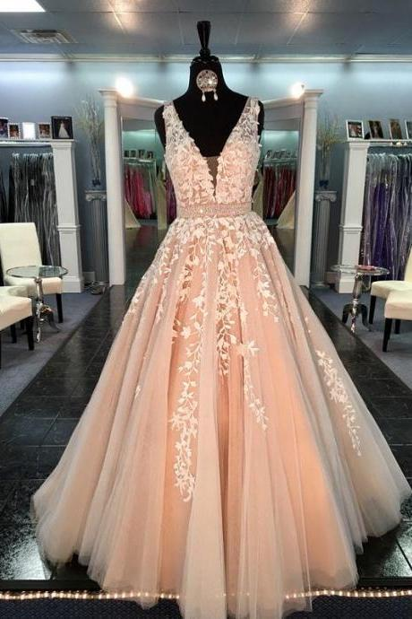Champagne Prom Dresses,Prom Dresses New 2017,Lace Prom Dresses,Appliqued Tulle Formal Evening Gowns