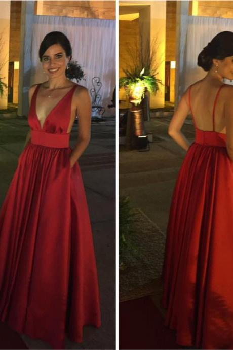 Plunge Neck Prom Dress,Burgundy Bridesmaid Dress,Backless Evening Gowns