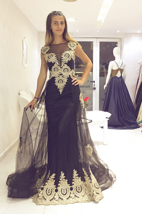 Black Tulle Mermaid Evening Dresses Long with Gold Lace Appliques